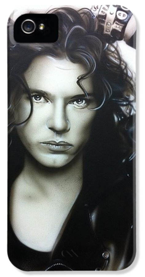 Michael Hutchence IPhone 5 / 5s Case featuring the painting 'michael Hutchence' by Christian Chapman Art