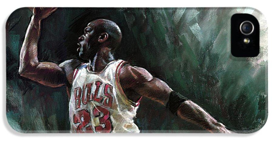 Michael Jordan IPhone 5 / 5s Case featuring the pastel Michael Jordan by Ylli Haruni