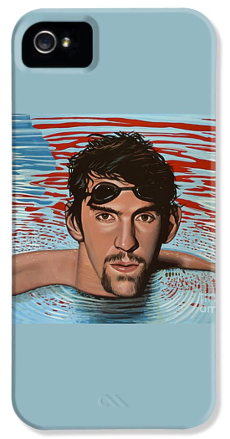 Michael Phelps IPhone 5 / 5s Case featuring the painting Michael Phelps by Paul Meijering