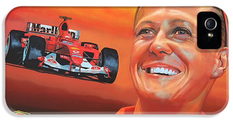 Michael Schumacher IPhone 5 / 5s Case featuring the painting Michael Schumacher 2 by Paul Meijering