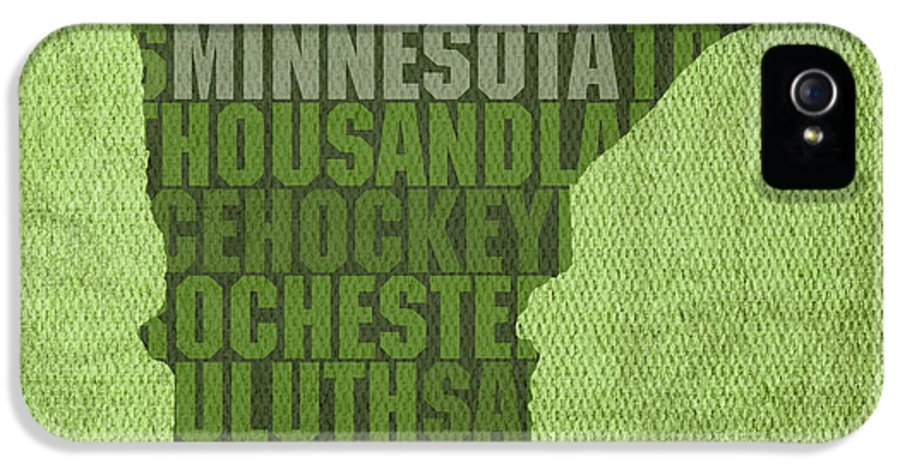 Minnesota Word Art State Map On Canvas IPhone 5 / 5s Case featuring the mixed media Minnesota Word Art State Map On Canvas by Design Turnpike
