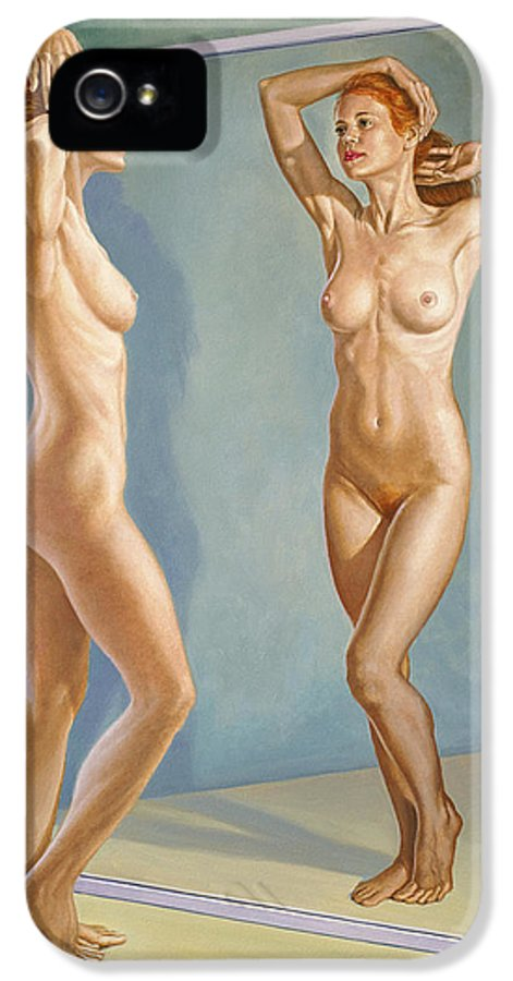 Figure IPhone 5 / 5s Case featuring the painting Mirror Image by Paul Krapf