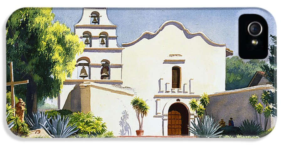 California Mission IPhone 5 / 5s Case featuring the painting Mission San Diego De Alcala by Mary Helmreich
