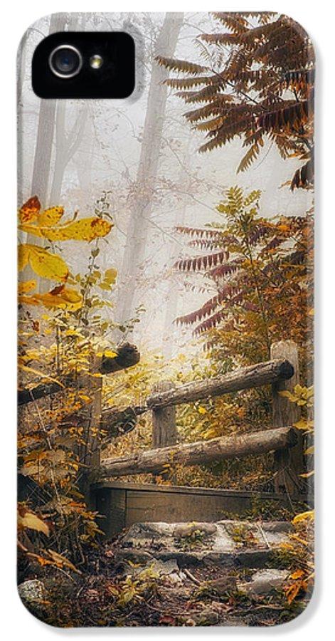 Bridge IPhone 5 / 5s Case featuring the photograph Misty Footbridge by Scott Norris