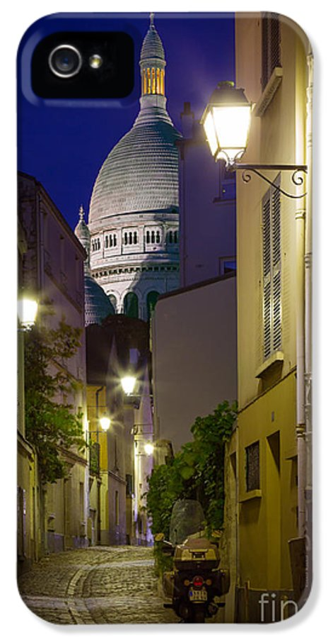 Christianity IPhone 5 / 5s Case featuring the photograph Montmartre Street And Sacre Coeur by Inge Johnsson