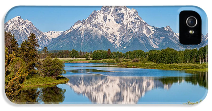 Mount Moran On Snake River At Oxbow Bend Grand Teton National Park IPhone 5 / 5s Case featuring the photograph Mount Moran On Snake River Landscape by Brian Harig