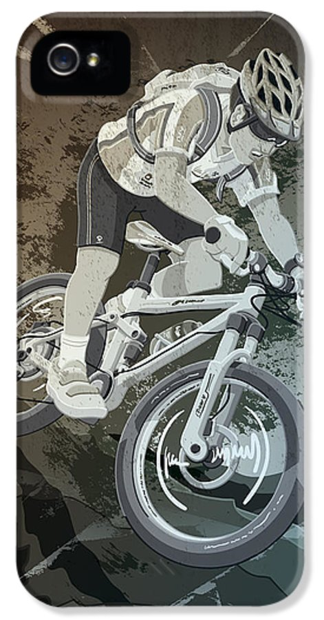 Cycling IPhone 5 / 5s Case featuring the drawing Mountainbike Sports Action Grunge Monochrome by Frank Ramspott