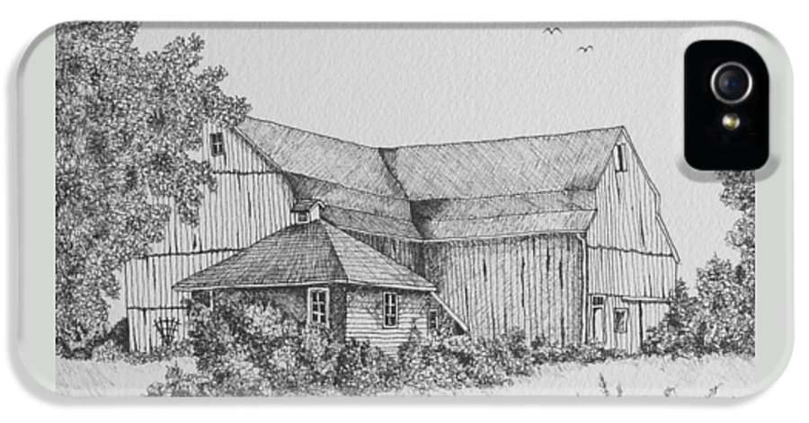 Barn IPhone 5 / 5s Case featuring the drawing My Barn by Gigi Dequanne