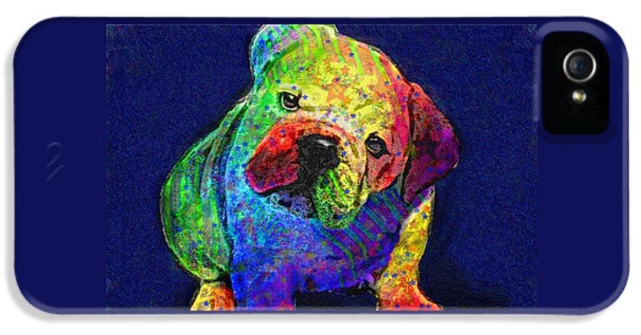 Jane Schnetlage IPhone 5 / 5s Case featuring the digital art My Psychedelic Bulldog by Jane Schnetlage