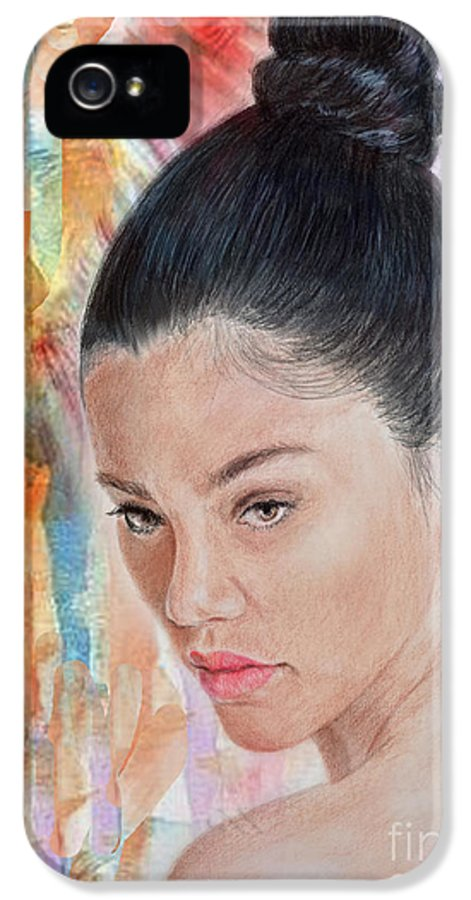 Bangkok IPhone 5 / 5s Case featuring the drawing Myra Molloy Winner Of Thailand Got Talent II by Jim Fitzpatrick
