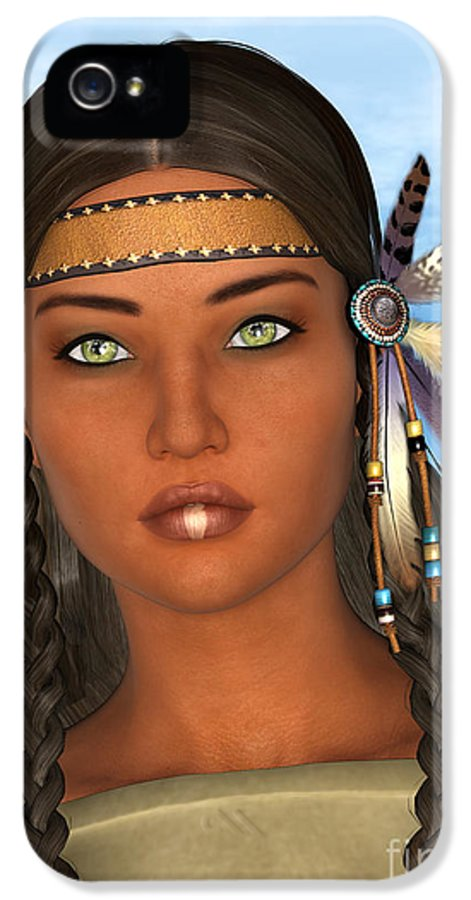 Native IPhone 5 / 5s Case featuring the digital art Native American Woman by Design Windmill