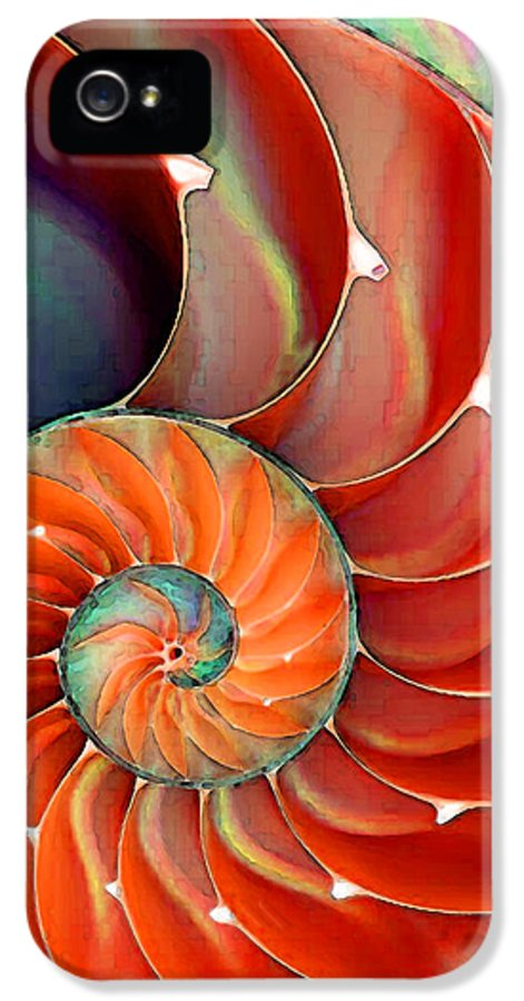 Nautilus IPhone 5 / 5s Case featuring the painting Nautilus Shell - Nature's Perfection by Sharon Cummings