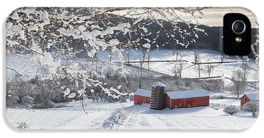 Square IPhone 5 / 5s Case featuring the photograph New England Winter Farms Square by Bill Wakeley