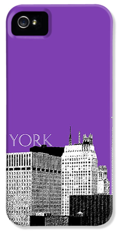 Architecture IPhone 5 / 5s Case featuring the digital art New York Skyline Chrysler Building - Purple by DB Artist