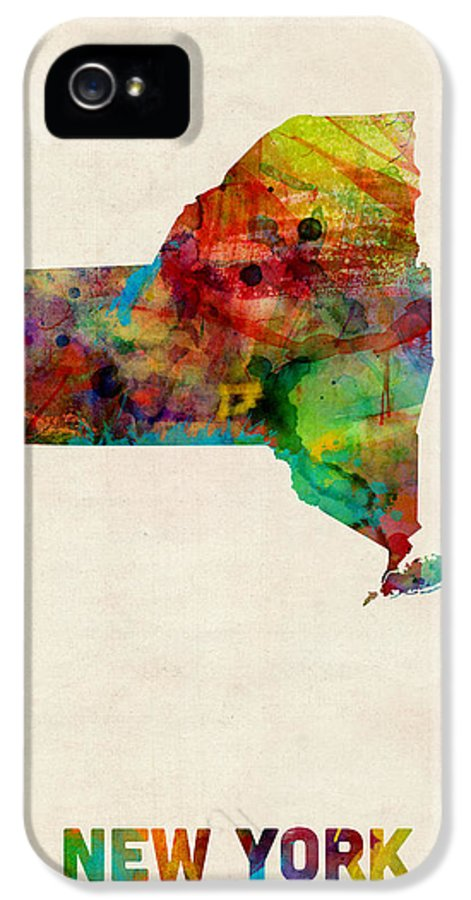 United States Map IPhone 5 / 5s Case featuring the digital art New York Watercolor Map by Michael Tompsett