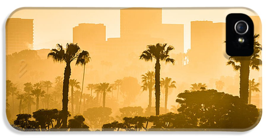 America IPhone 5 / 5s Case featuring the photograph Newport Beach Skyline Morning Sunrise Picture by Paul Velgos