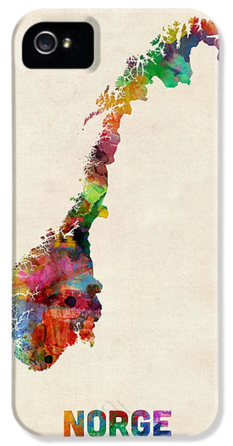 Urban IPhone 5 / 5s Case featuring the digital art Norway Watercolor Map by Michael Tompsett