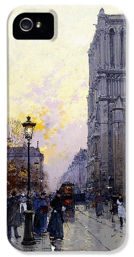 Building IPhone 5 / 5s Case featuring the painting Notre Dame De Paris by Eugene Galien-Laloue
