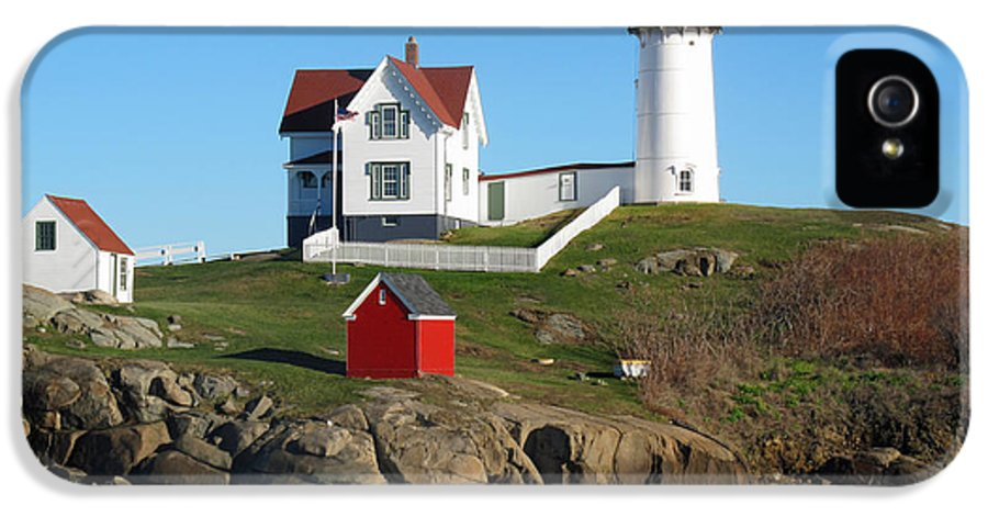 Seascape IPhone 5 / 5s Case featuring the photograph Nubble Lighthouse One by Barbara McDevitt