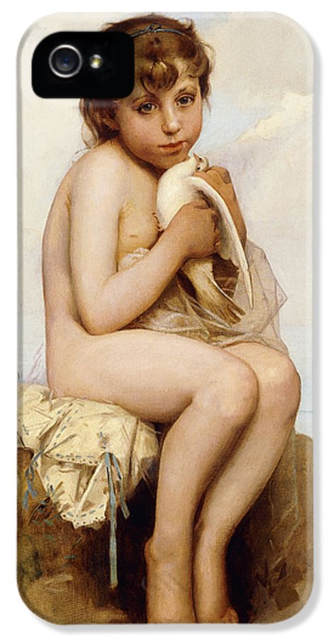 Academic IPhone 5 / 5s Case featuring the painting Nude Child With Dove by Leon Bazile Perrault