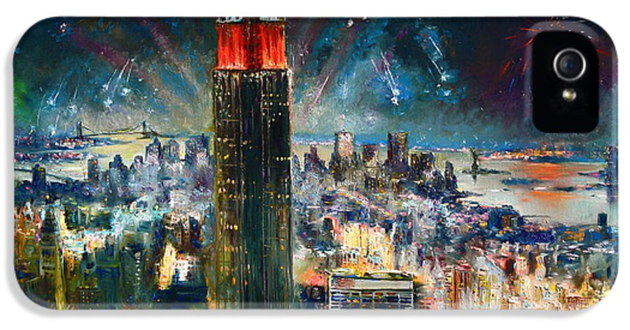 Nyc IPhone 5 / 5s Case featuring the painting Nyc In Fourth Of July Independence Day by Ylli Haruni