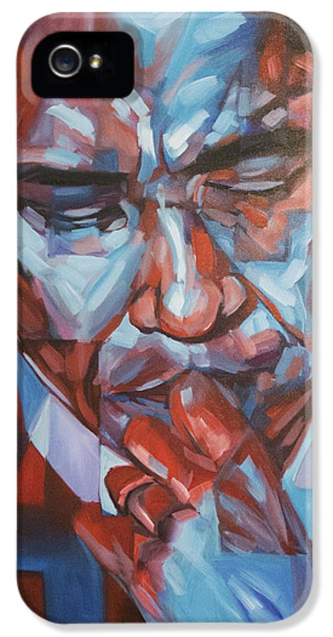 President Barack Hussein Obama 44 Forty-fourth President Of The United States Presidential Portrait America IPhone 5 / 5s Case featuring the painting Obama 44 by Steve Hunter