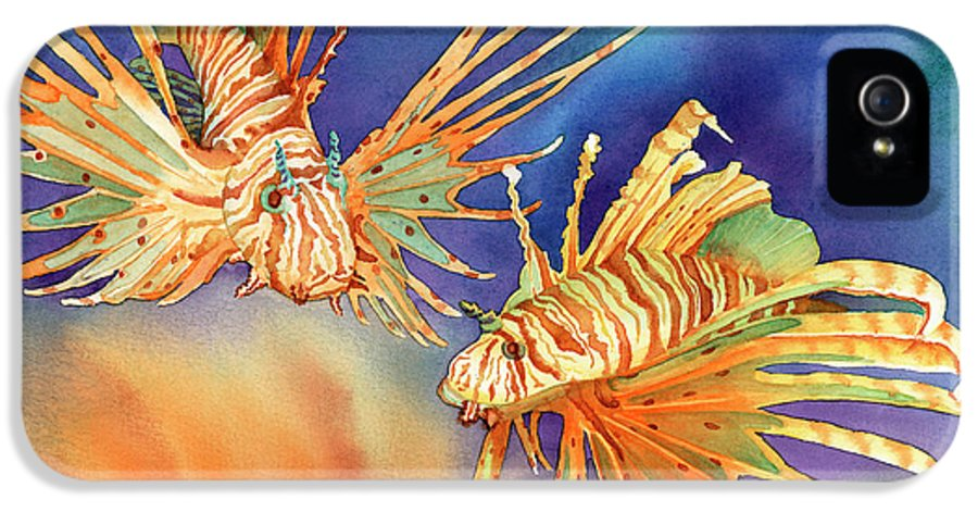 Lionfish IPhone 5 / 5s Case featuring the painting Ocean Lions by Tracy L Teeter
