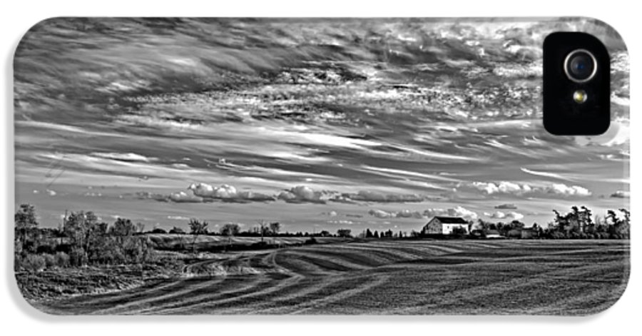 Landscape IPhone 5 / 5s Case featuring the photograph October Patterns Bw by Steve Harrington