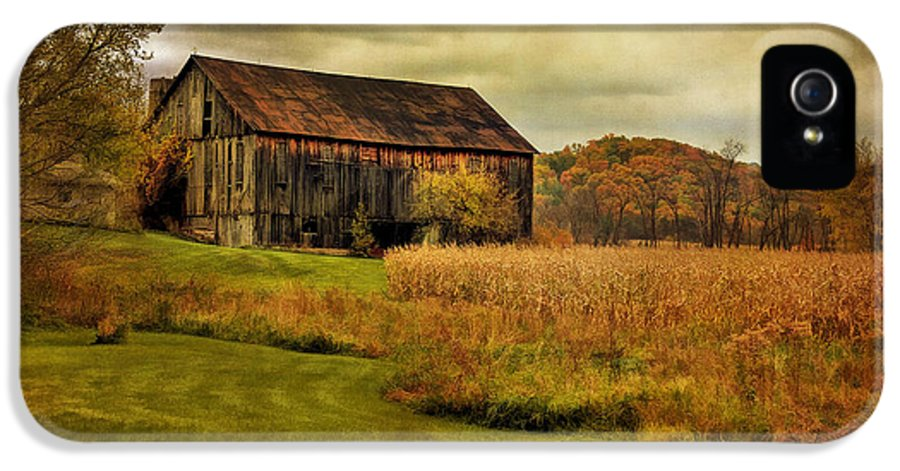 Barn IPhone 5 / 5s Case featuring the photograph Old Barn In October by Lois Bryan