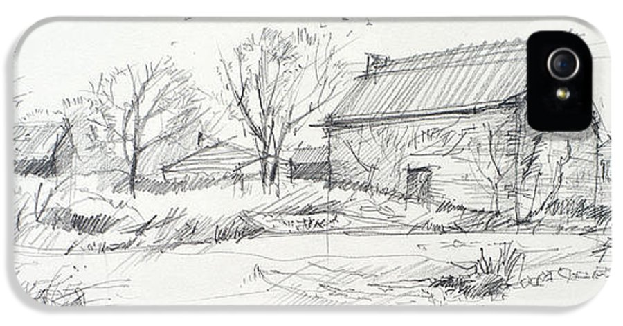 Sketch IPhone 5 / 5s Case featuring the drawing Old Barn Sketch by Peut Etre