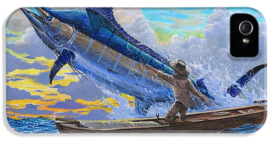 Marlin IPhone 5 / 5s Case featuring the painting Old Man's Battle Off00133 by Carey Chen