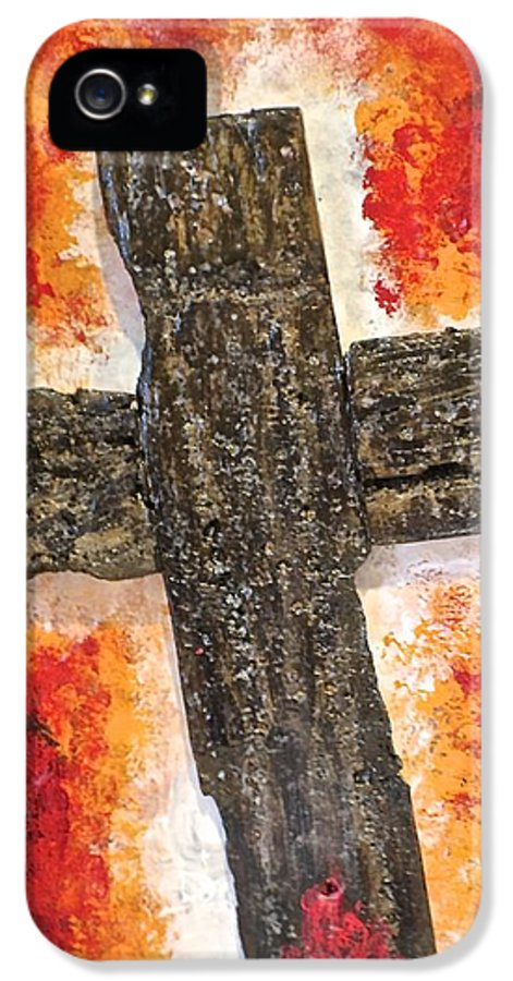 Deep IPhone 5 / 5s Case featuring the painting Old Rugged Cross by Jim Ellis