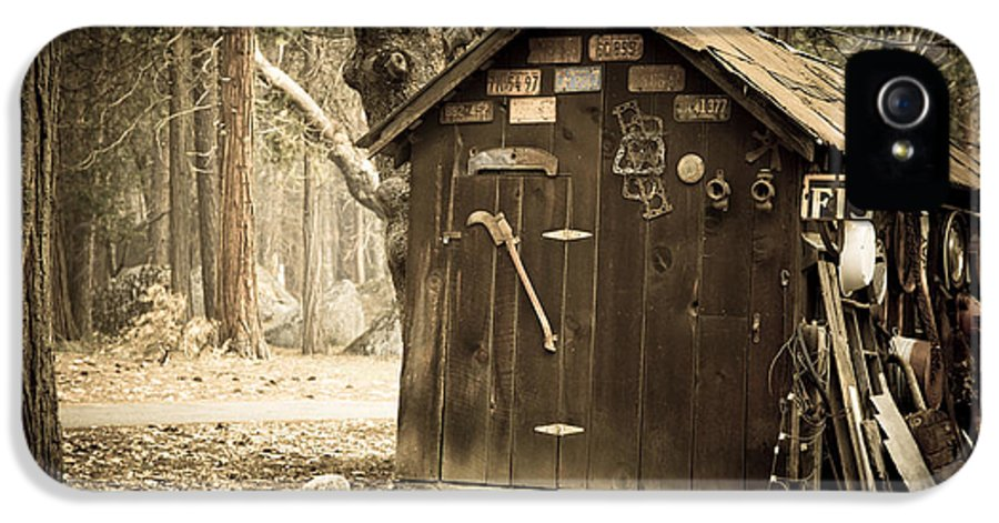 Aged IPhone 5 / 5s Case featuring the photograph Old Wooden Shed Yosemite by Jane Rix