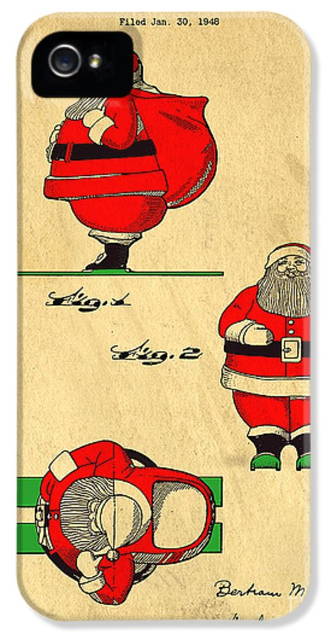 Santa IPhone 5 / 5s Case featuring the drawing Original Patent For Santa On Skis Figure by Edward Fielding