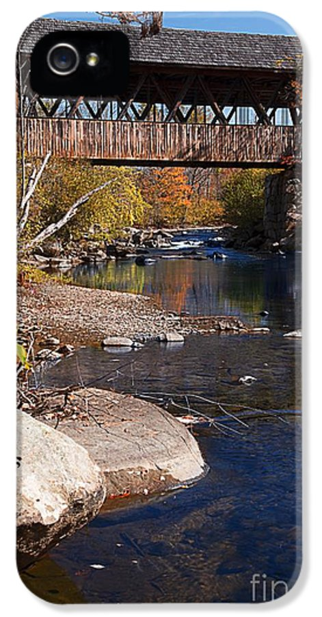 Packer Hill Bridge Lebanon Covered IPhone 5 / 5s Case featuring the photograph Packard Hill Bridge Lebanon New Hampshire by Edward Fielding