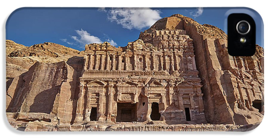Jordan IPhone 5 / 5s Case featuring the photograph Palace Tomb In Nabataean Ancient Town Petra by Juergen Ritterbach
