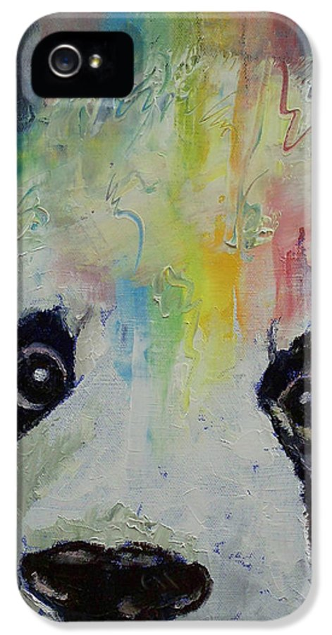 Panda IPhone 5 / 5s Case featuring the painting Panda Rainbow by Michael Creese