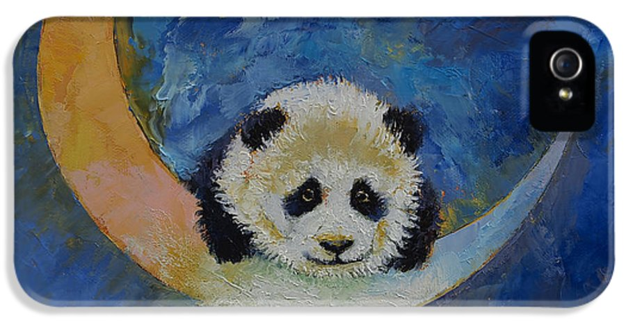 Panda IPhone 5 / 5s Case featuring the painting Panda Stars by Michael Creese