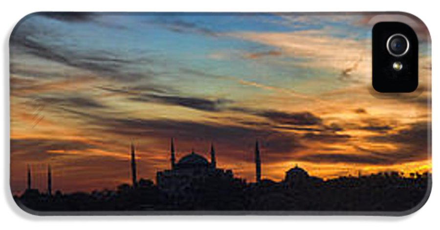 Panoramic IPhone 5 / 5s Case featuring the photograph Panorama Of Istanbul Sunset- Call To Prayer by David Smith