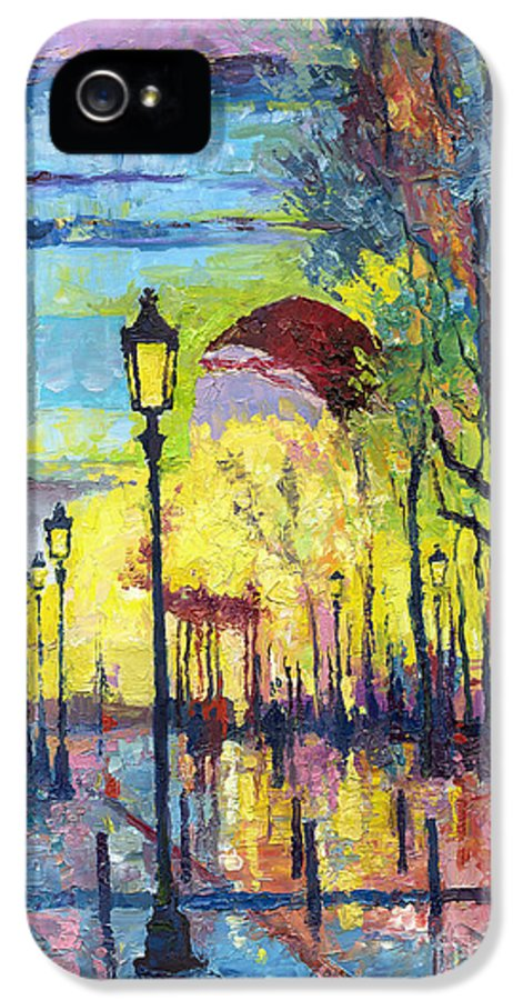 Paris IPhone 5 / 5s Case featuring the painting Paris Arc De Triomphie by Yuriy Shevchuk