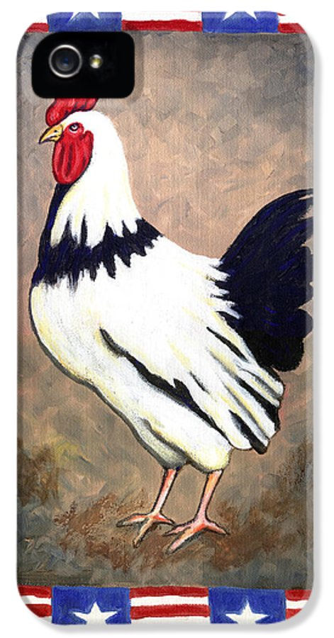 Folk Art Rooster IPhone 5 / 5s Case featuring the painting Patrick Patriotic by Linda Mears