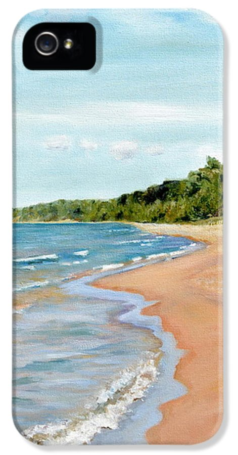 Beach IPhone 5 / 5s Case featuring the painting Peaceful Beach At Pier Cove by Michelle Calkins