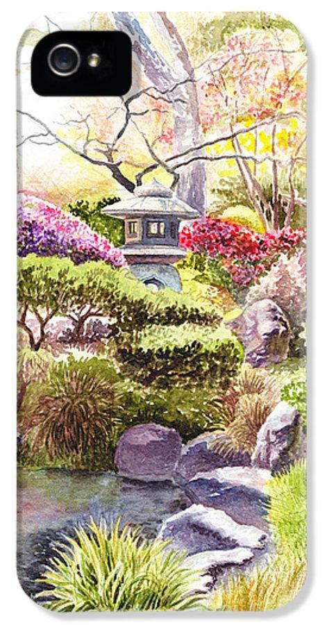 Affirmation IPhone 5 / 5s Case featuring the painting Peaceful Garden by Irina Sztukowski