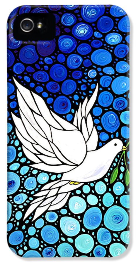 Christmas IPhone 5 / 5s Case featuring the painting Peaceful Journey - White Dove Peace Art by Sharon Cummings