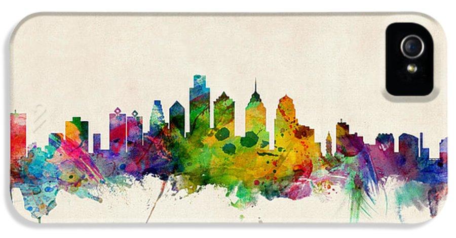 Watercolour IPhone 5 / 5s Case featuring the digital art Philadelphia Skyline by Michael Tompsett