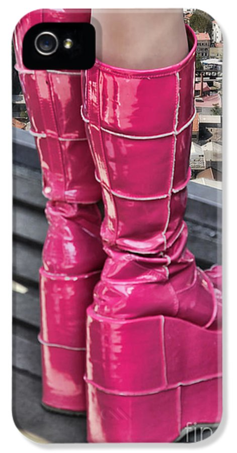 Platform IPhone 5 / 5s Case featuring the photograph Pink Boots by Jasna Buncic