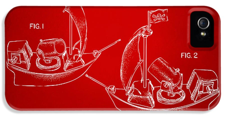 Pirate IPhone 5 / 5s Case featuring the drawing Pirate Ship Patent Artwork - Red by Nikki Marie Smith