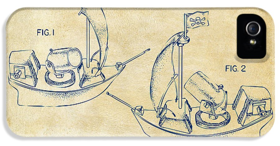 Pirate IPhone 5 / 5s Case featuring the drawing Pirate Ship Patent Artwork - Vintage by Nikki Marie Smith