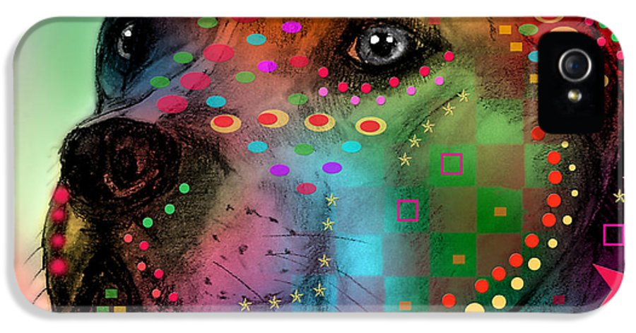Pop Art IPhone 5 / 5s Case featuring the painting Pit Bull by Mark Ashkenazi