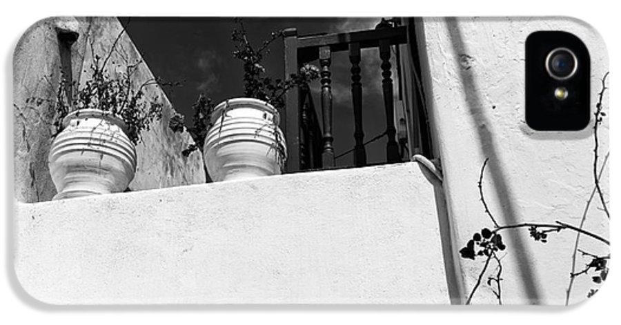 Plants On The Ledge In Mykonos IPhone 5 / 5s Case featuring the photograph Plants On The Ledge In Mykonos Mono by John Rizzuto
